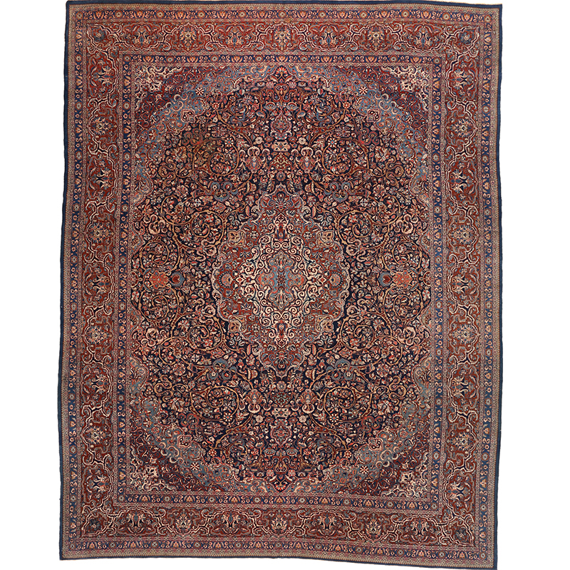 "10'8"" x 13'6"" Antique Persian Kashan Rug - 107552"