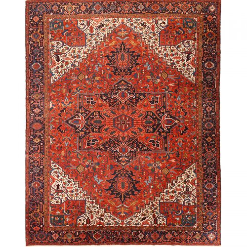 """12'0"""" x 15'4"""" Antique Persian Heriz Rug - 105862"""