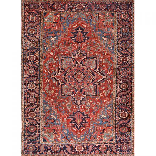 """8'6"""" x 11'9"""" Antique Persian Heriz Rug - 105871"""