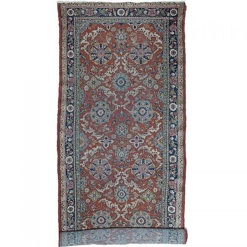 Antique Handwoven Persian Mahal Area Rug 4.0x18.0