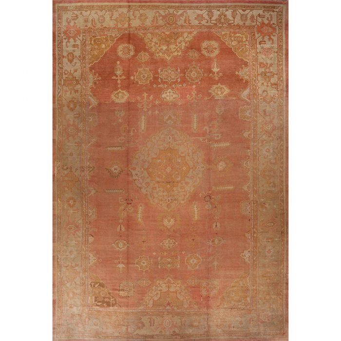 A107906 - Handwoven Antique Turkish Oushak Rug 13.4x19.5