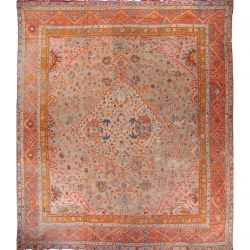 108786 - Handwoven Antique Turkish Oushak Rug 15.9x18.0