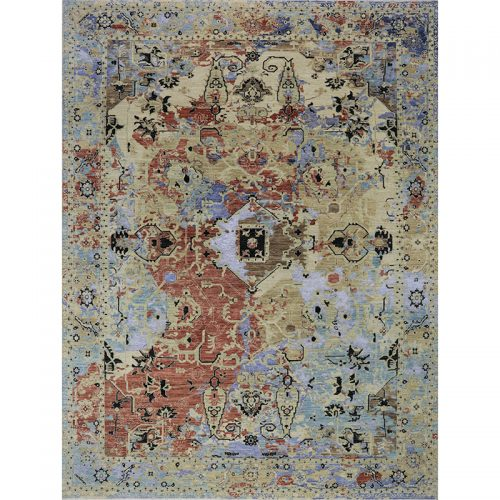 Hand-woven Transitional/Modern Indo Rug 9.2 x 12.2 - 495
