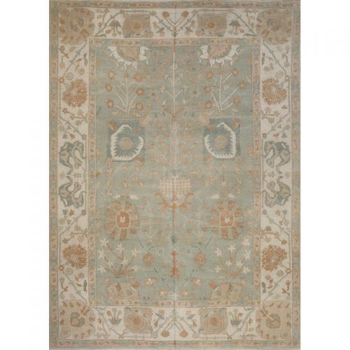 Traditional Handwoven Turkish Oushak Rug 9.2x12.10