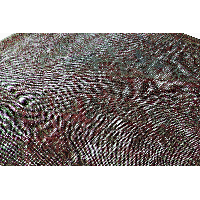 Vintage Distressed Overdyed Persian Tabriz Rug 7 0 X 9 11