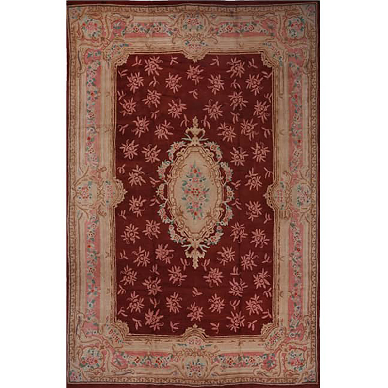 E101094 Old Handwoven French Hooked Area Rug 9 7x14 8