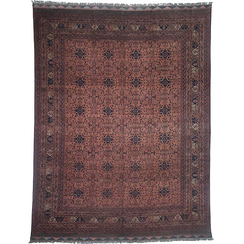 Old Handwoven Afghani Area Rug 9.9x12.9
