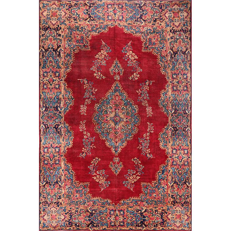 Old Handwoven Persian Kerman Area Rug 7.5x11.0