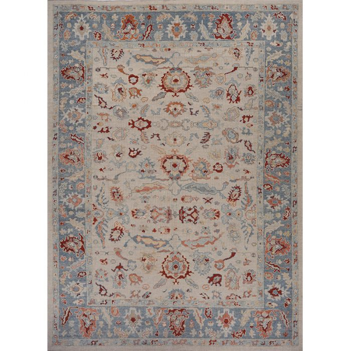 Traditional Handwoven Turkish Oushak Rug 11.2x14.1