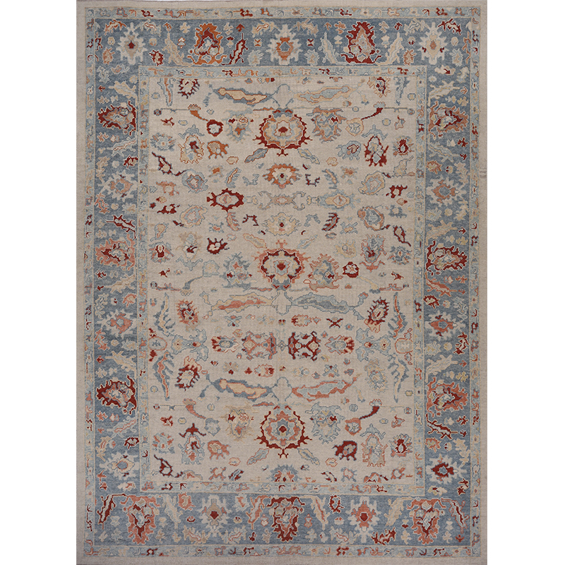 A108793 Traditional Handwoven Turkish Oushak Rug 9 9x13