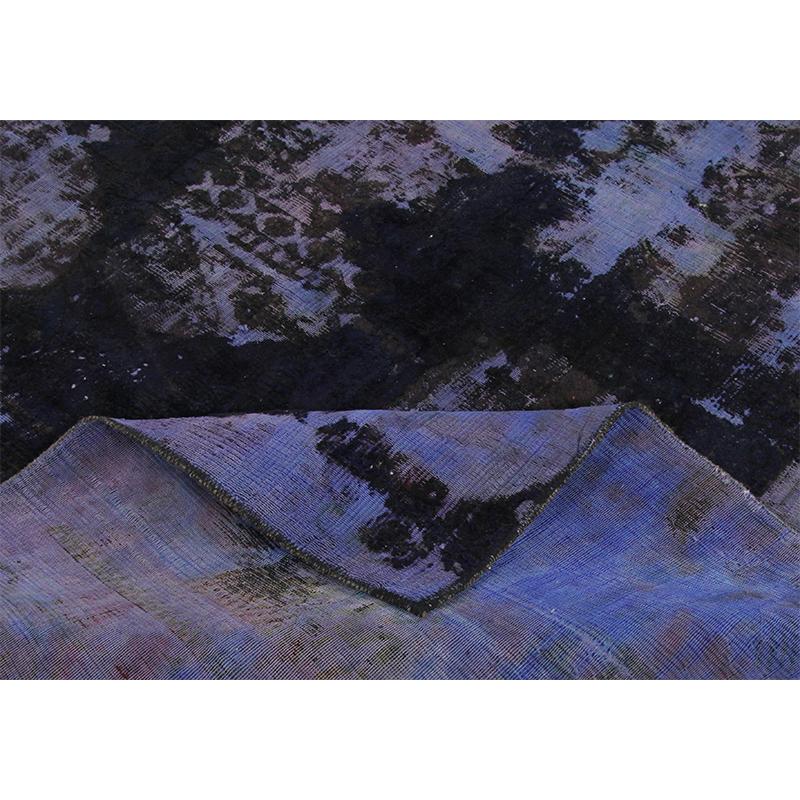 Vintage Distressed Overdyed Persian Tabriz Rug 9.2 x 11.1 - 108886