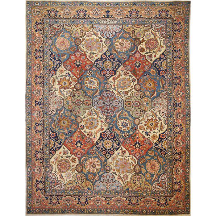 "8'7"" x 11'1"" Antique Persian Tabriz Rug - 107793"