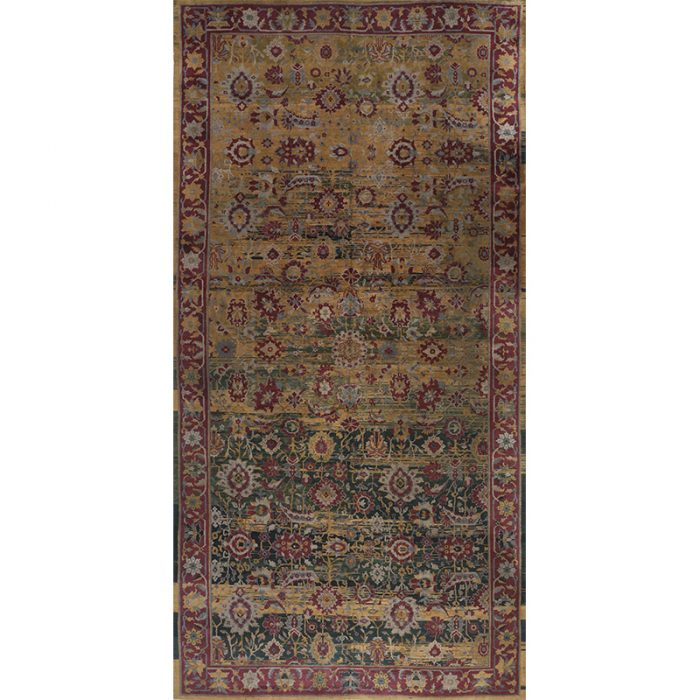 Traditional Antique Hand-woven Vegetable-dyed Indian Agra Rug 9.0 x 18.0