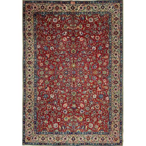 8x11 Old Red Persian Tabriz Rug - 104705