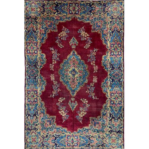 7x11 Old Red Persian Kerman Rug - 500180