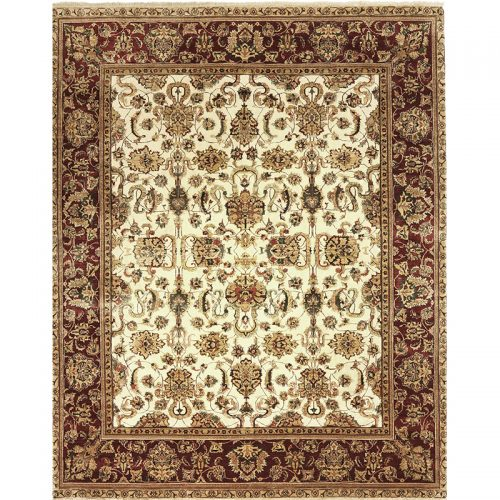 Traditional Hand-woven Vegetable-dyed Indian Agra Rug 9.0 x 11.3