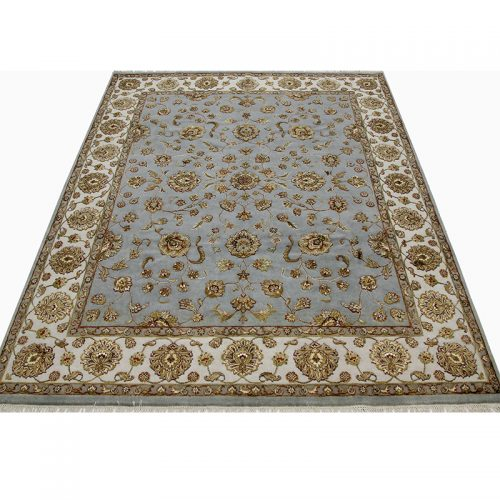 Traditional Hand-woven Persian Tabriz Style Indo Rug 8.2 x 10.1 - 500418