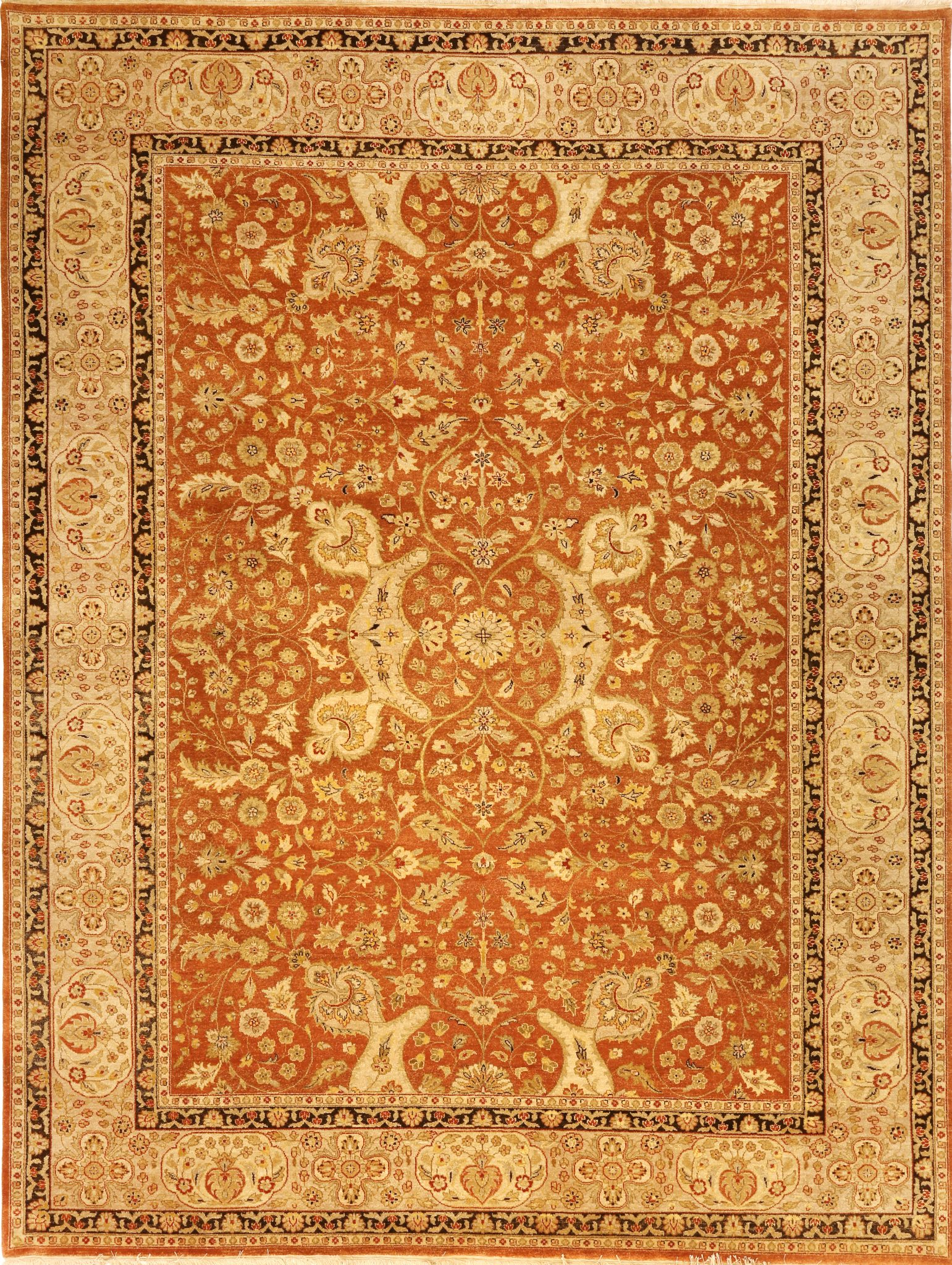 107081 – Traditional Hand-woven Indian Agra Rug 9.0 x 12.0