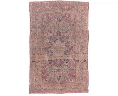 Antique Handwoven Persian Kerman Area Rug 4.2x6.5 - 106545
