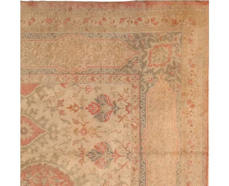 A106758 Antique Handwoven Turkish Oushak Rug 9 6x13 4