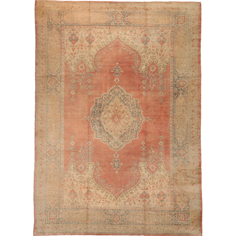 A106758 Antique Handwoven Turkish Oushak Rug 9 6x13 4