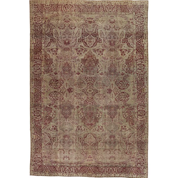 Antique Hand-woven Persian Yazd Rug 9.6 x 14.1