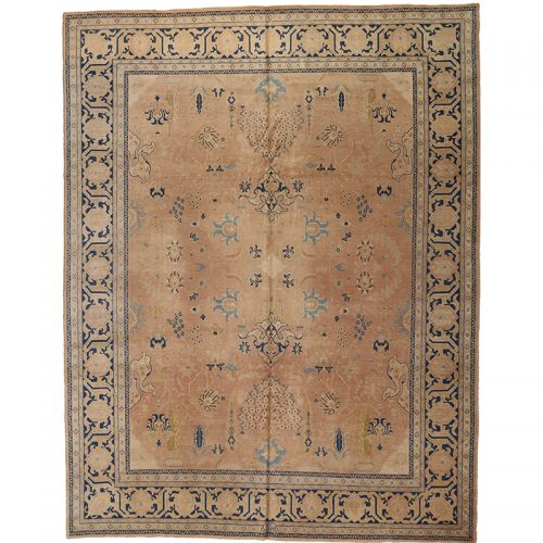 Traditional Antique Hand-woven Persian Tabriz Rug 10.3 x 13.1