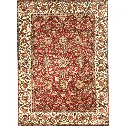 Hand-woven Vegetable-dyed Indian Mughal Rug 9.0 x 12.5