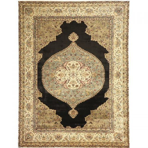 Hand-woven Vegetable-dyed Indian Mughal Rug 9.3 x 12.2