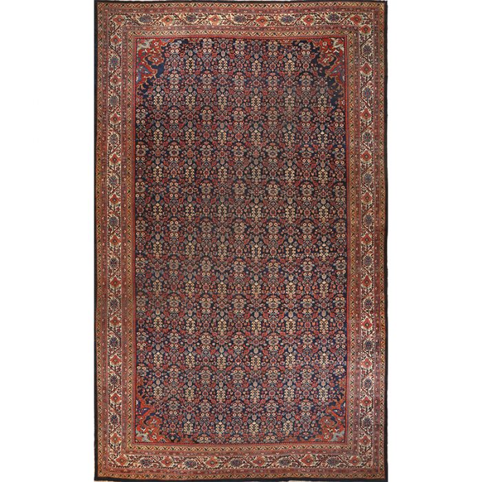 Antique Hand-woven Persian Mahal Rug 12.4 x 20.4