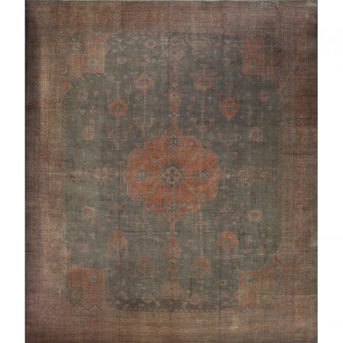 107217 - Handwoven Antique Turkish Oushak Rug 17.0x19.10