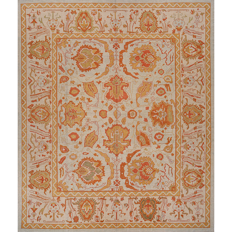 A108807 Traditional Handwoven Turkish Oushak Rug 12 1x14