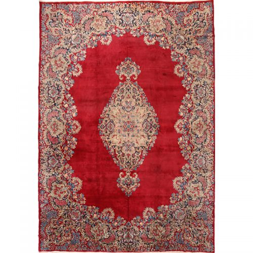 Traditional Old Handwoven Persian Lavar Kerman Rug 11.2x16.4 - B107459