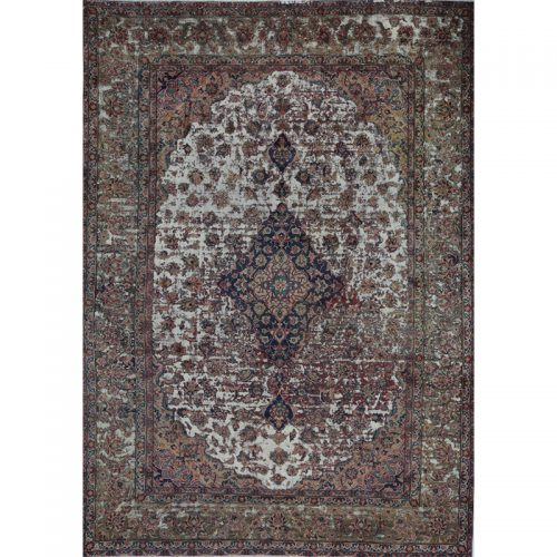 Vintage Distressed Overdyed Persian Tabriz Rug  9.8 x 13.3 - 108861