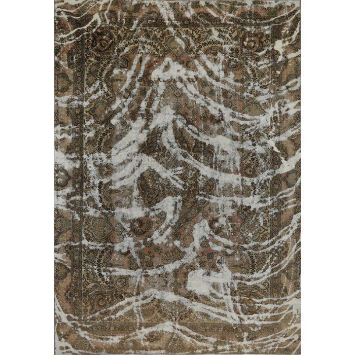Vintage Distressed Overdyed Persian Tabriz Rug 8.10 x 12.7 - 108867