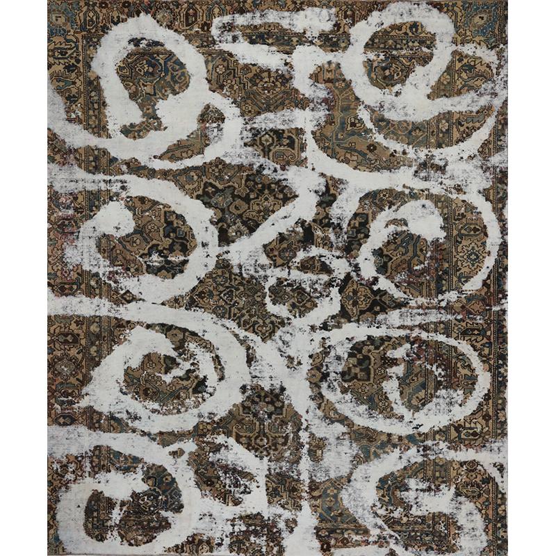 Vintage Distressed Overdyed Persian Tabriz Rug 10.5 x 12.9 - 108859