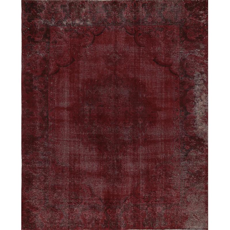 Vintage Distressed Overdyed Persian Tabriz Rug 8.7 x 10.9 - 108879