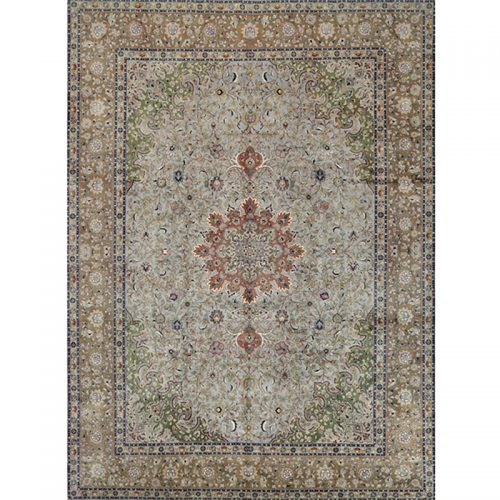 A109349 - Traditional Old Hand-woven Persian Tabriz Rug 10.0 x 13.8