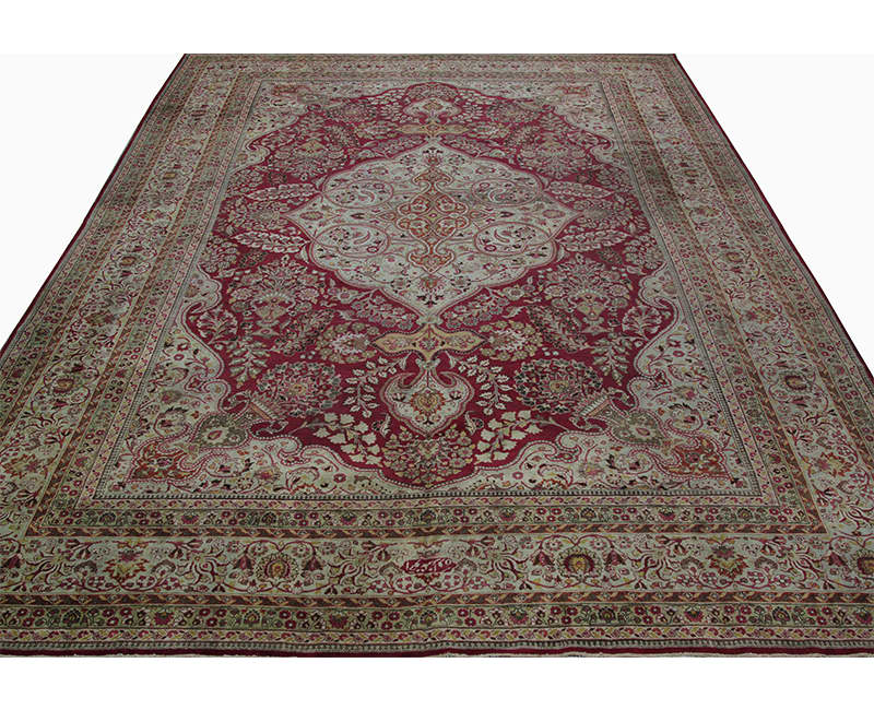 A107460 Antique Handwoven Persian Mashad Rug 11 8x16 6