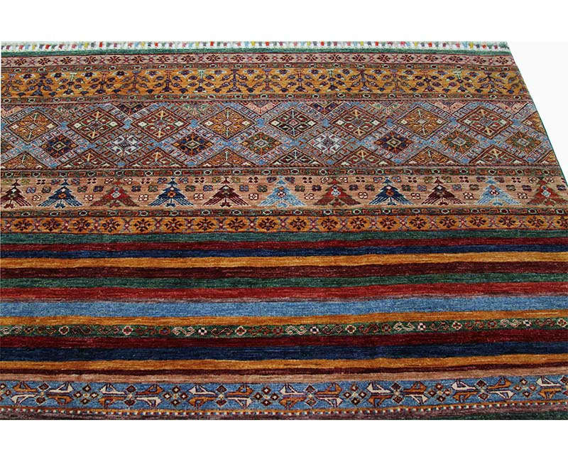 Traditional Hand Woven Turkmenistan Tribal Rug 8 2 X 11 8