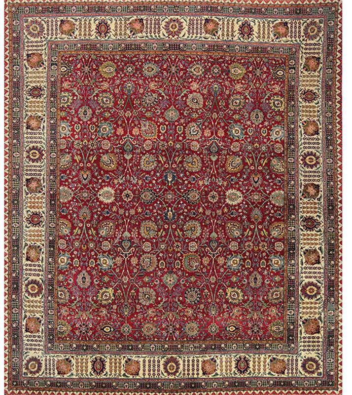 Old Handwoven Persian Tabriz Area Rug 10.10x12.8