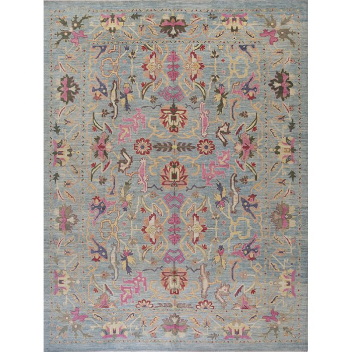 Traditional Hand-woven Persian Sultanabad Rug 12.4 x 16.3