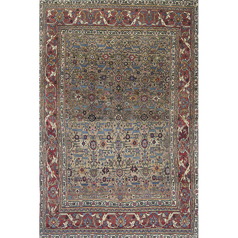Traditional Antique Hand-woven Persian Bijar Rug 8.1 x 11.1