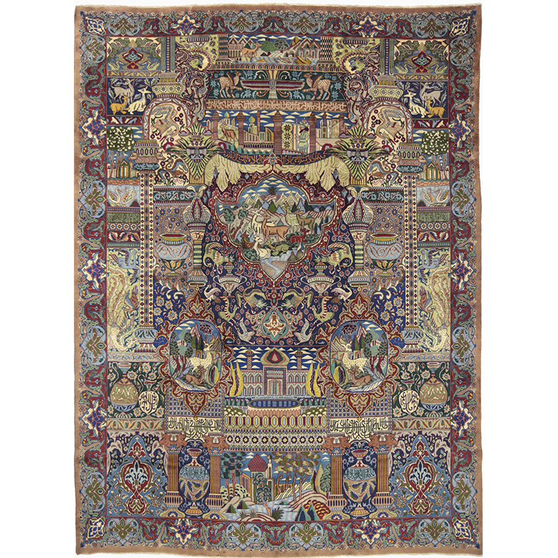 Traditional Old Hand-woven Persian Kashmar Rug 9.7 x 13.0