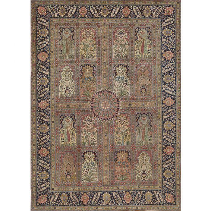 Traditional Old Hand-woven Persian Tabriz Rug 9.4 x 13.1