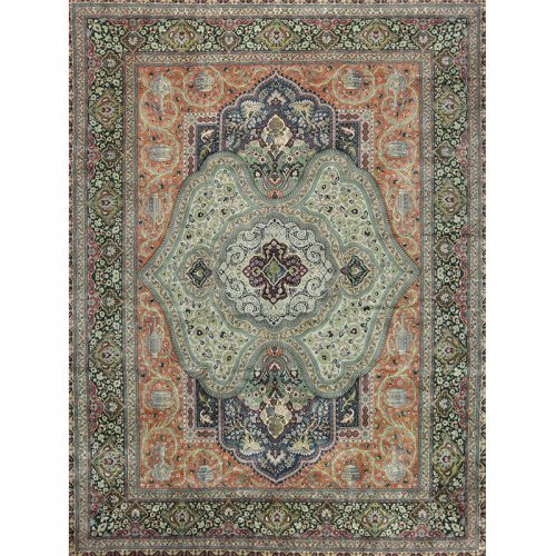 Traditional Old Hand-woven Persian Tabriz Rug 9.8 x 13.2