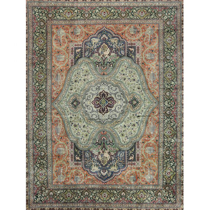 Traditional Old Handwoven Persian Tabriz Rug 9.8x13.2