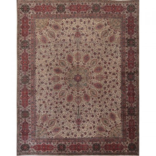Traditional Old Hand-woven Persian Tabriz Rug 11.8 x 14.8