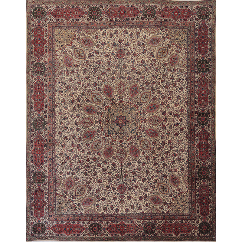 Traditional Old Handwoven Persian Tabriz Rug 11.8x14.8 - A110234