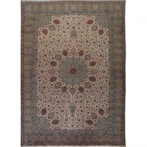 Traditional Old Handwoven Persian Tabriz Rug 12.5x18.6 - A110252